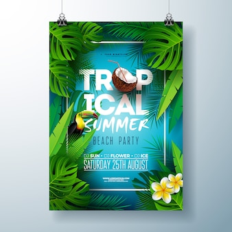 Modèle de flyer ou d'affiche fête de l'été tropical beach design avec oiseau fleur, noix de coco et toucan