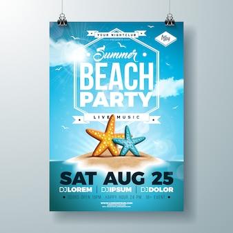 Modèle de flyer ou affiche fête de vecteur été design avec étoile de mer et île tropicale