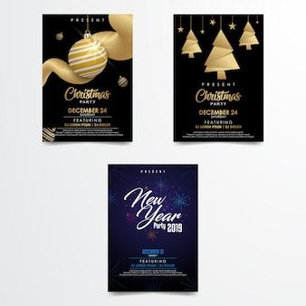 Modèle de flyer affiche joyeux noël et bonne année