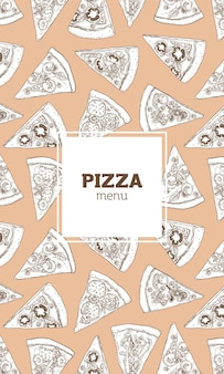 Modèle de flyer, affiche ou menu vertical avec texture de pizza dessinés à la main avec des lignes de contour sur un espace lumineux