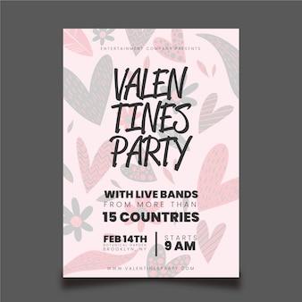 Modèle de flyer / affiche de la saint-valentin dessiné à la main