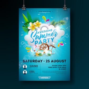 Modèle de flyer ou affiche vector summer party design avec fleur et nuage