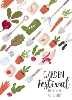 Modèle de flyer ou d'affiche vertical créatif avec outils de jardinage et place pour le texte pour le jardin