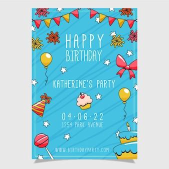 Modèle de flyer d'anniversaire dessiné à la main