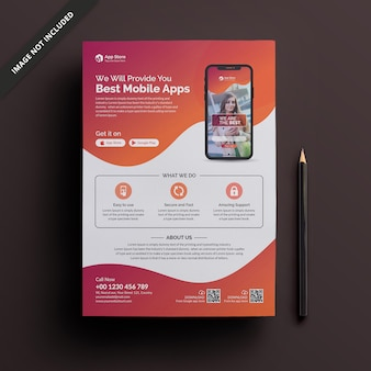 Modèle de flyer de application mobile