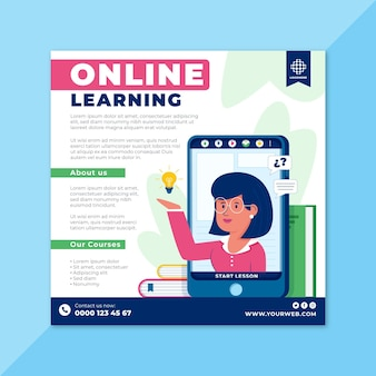 Modèle de flyer d'apprentissage en ligne