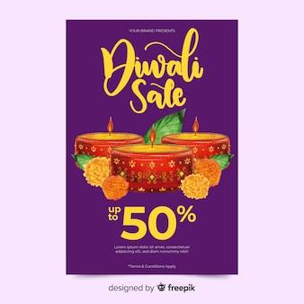 Modèle de flyer aquarelle diwali vente avec des bougies