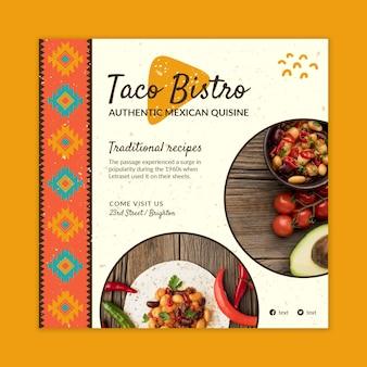 Modèle de flyer au carré délicieux de la cuisine mexicaine