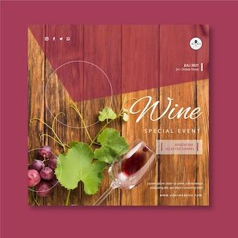 Modèle de flyer au carré de vin