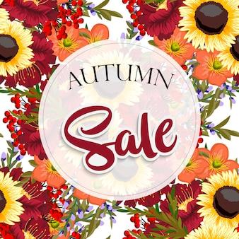 Modèle de flyer automne vente avec lettrage.