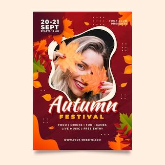 Modèle de flyer automne vertical dégradé avec photo