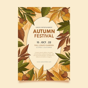 Modèle de flyer automne vertical dessiné à la main