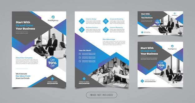 Modèle de flyer et bannière d'entreprise agence de création