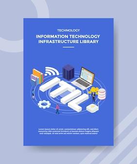 Modèle de flyer de bibliothèque d'infrastructure de technologie de l'information