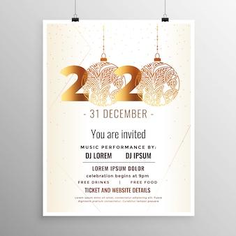 Modèle de flyer blanc et or pour le nouvel an 2020
