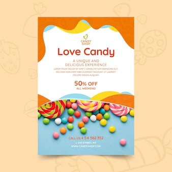 Modèle de flyer de bonbons avec photo