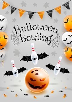 Modèle de flyer bowling halloween