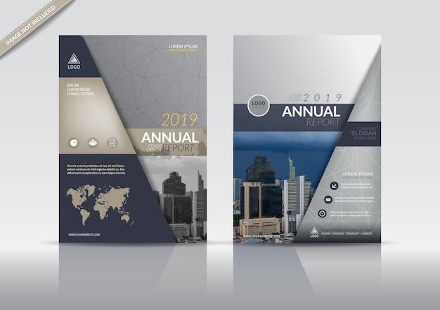 Modèle de flyer de brochure de couverture de rapport annuel.