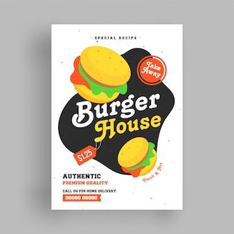Modèle de flyer de burger house.