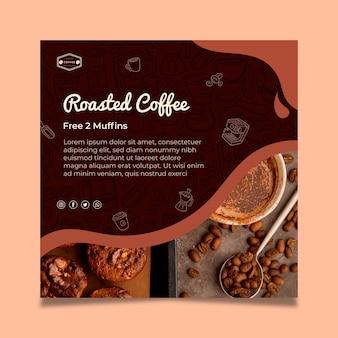Modèle de flyer café carré