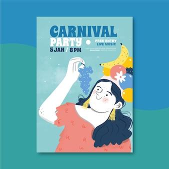 Modèle de flyer de carnaval brésilien dessiné à la main