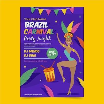 Modèle de flyer de carnaval brésilien plat
