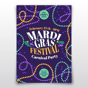 Modèle de flyer de carnaval mardi gras design plat