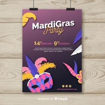 Modèle de flyer de carnaval de mardi gras