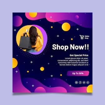 Modèle de flyer carré d'achat en ligne