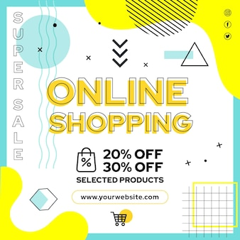 Modèle de flyer carré d'achats en ligne
