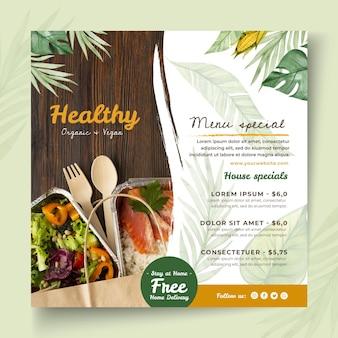 Modèle de flyer carré d'aliments bio et sains