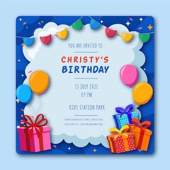 Modèle de flyer carré d'anniversaire avec illustrations
