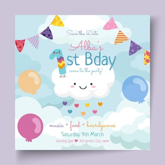 Modèle de flyer carré d'anniversaire pour enfants