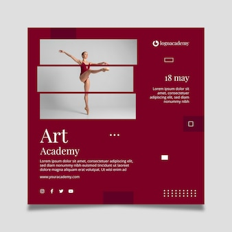Modèle de flyer carré art academy