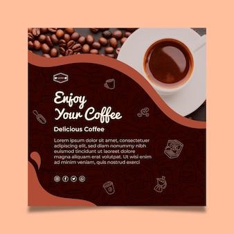 Modèle de flyer carré au goût de café