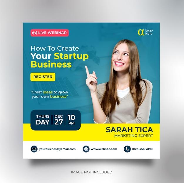 Modèle de flyer carré de bannière de médias sociaux de conférence d'affaires