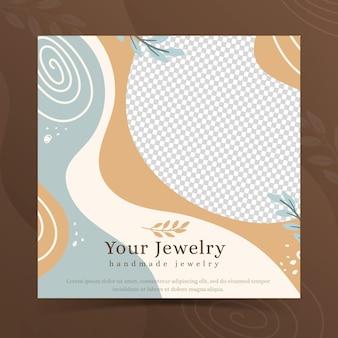 Modèle de flyer carré de bijoux faits à la main