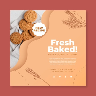 Modèle de flyer carré de biscuits cuits au four