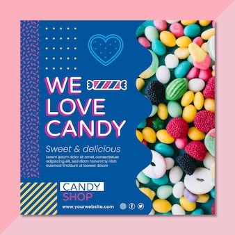 Modèle de flyer carré de bonbons délicieux