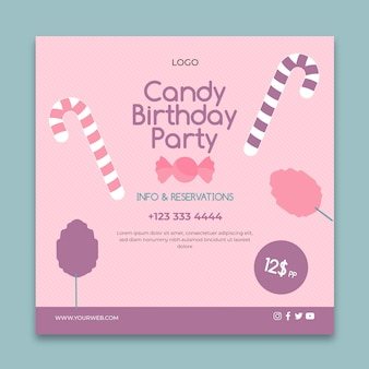 Modèle de flyer carré business candy bar rose