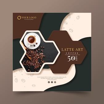 Modèle de flyer carré café