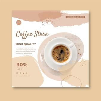 Modèle de flyer carré de café