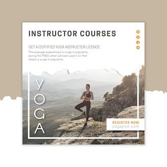 Modèle de flyer carré de camp de yoga