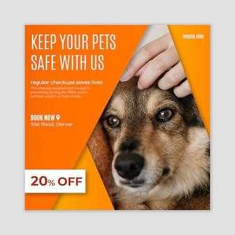 Modèle de flyer carré de clinique vétérinaire pour animaux de compagnie sains