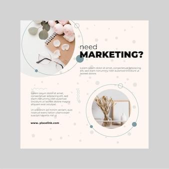 Modèle de flyer carré commercial marketing