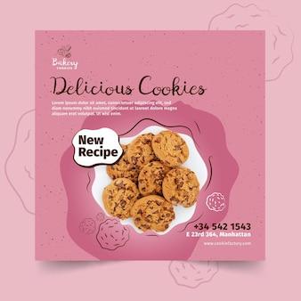Modèle de flyer carré de cookies avec photo