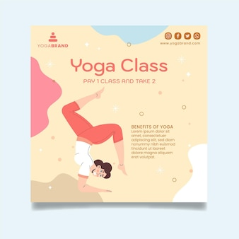 Modèle de flyer carré de cours de yoga