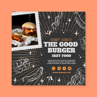 Modèle de flyer carré de cuisine américaine savoureuse