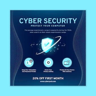 Modèle de flyer carré cybersécurité