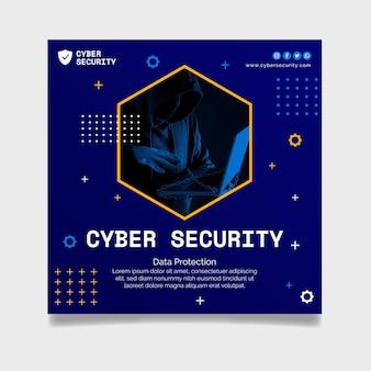 Modèle de flyer carré de cybersécurité